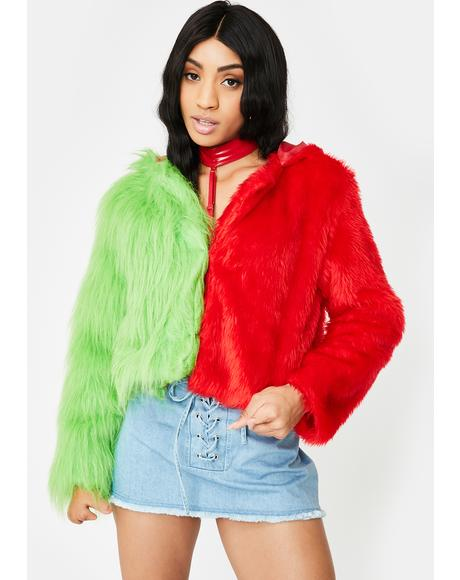 Two Faced Red Green Faux Fur Jacket