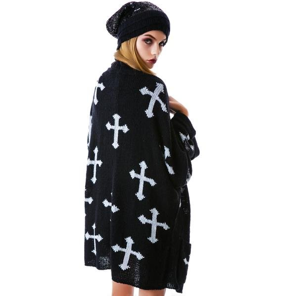Wildfox Couture Gothic Crosses Slouch Cardi