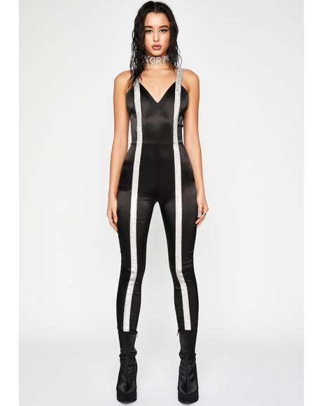 Quitters Never Win Rhinestone Catsuit