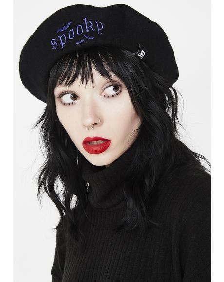 Spooky Embroidered Beret