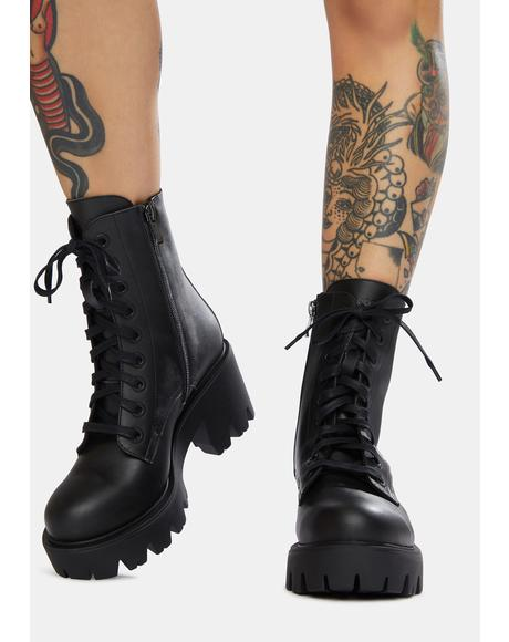 Ella Vegan Leather Lace-Up Boots
