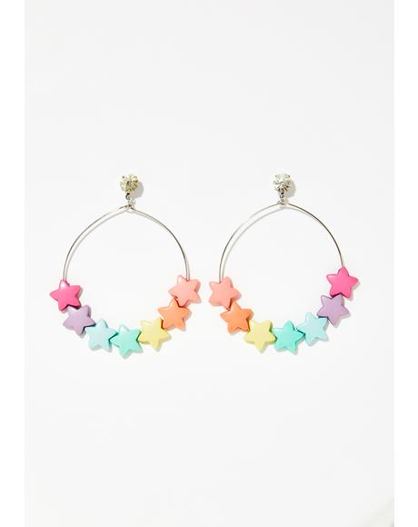 Star Shine Hoop Earrings