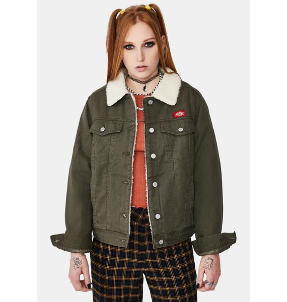 Dickies Girl Olive Sherpa Lined Denim Jacket