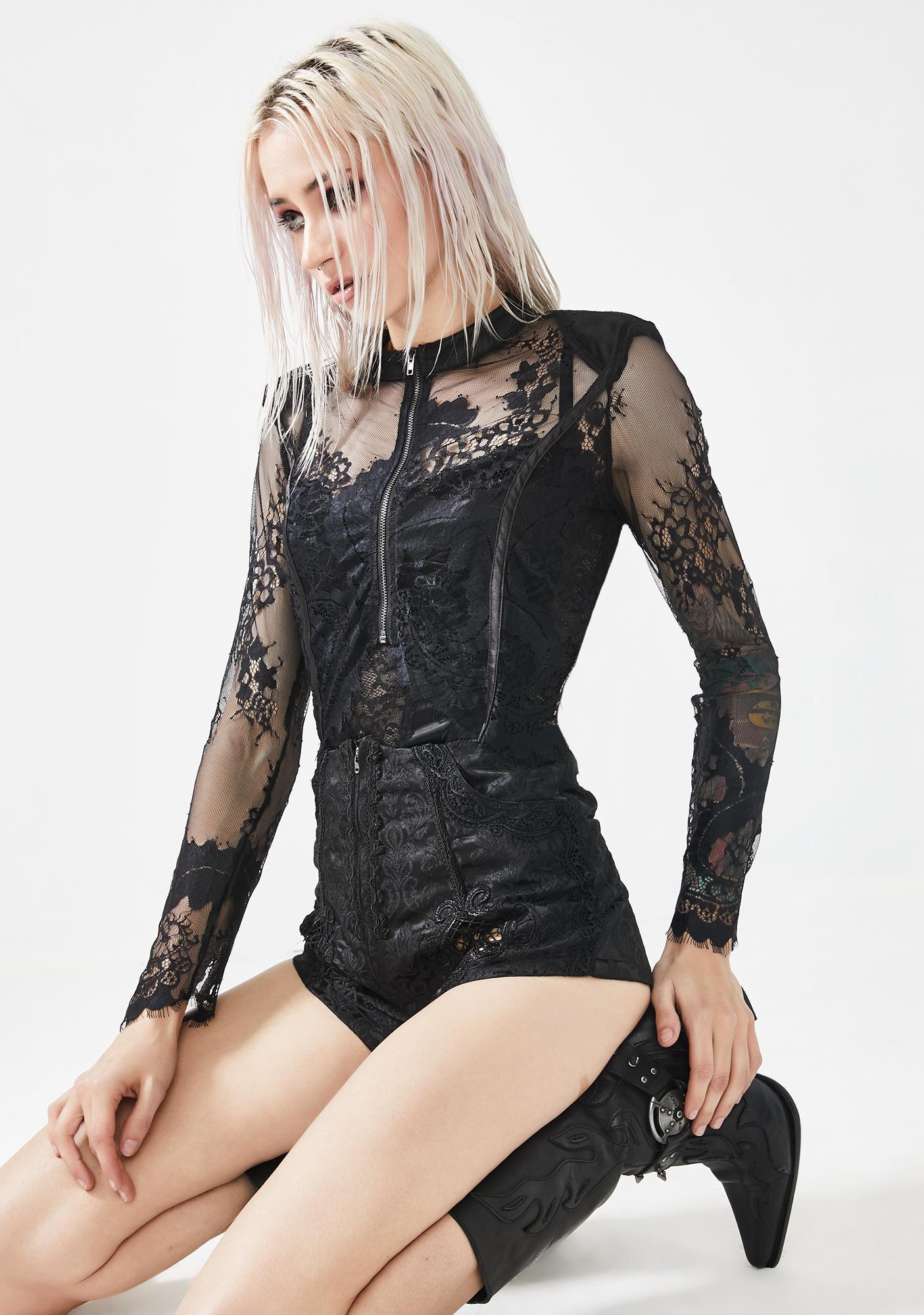 Punk Rave Sheer Lace Cropped Jacket