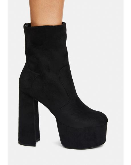 Noir New York Minute Platform Boots
