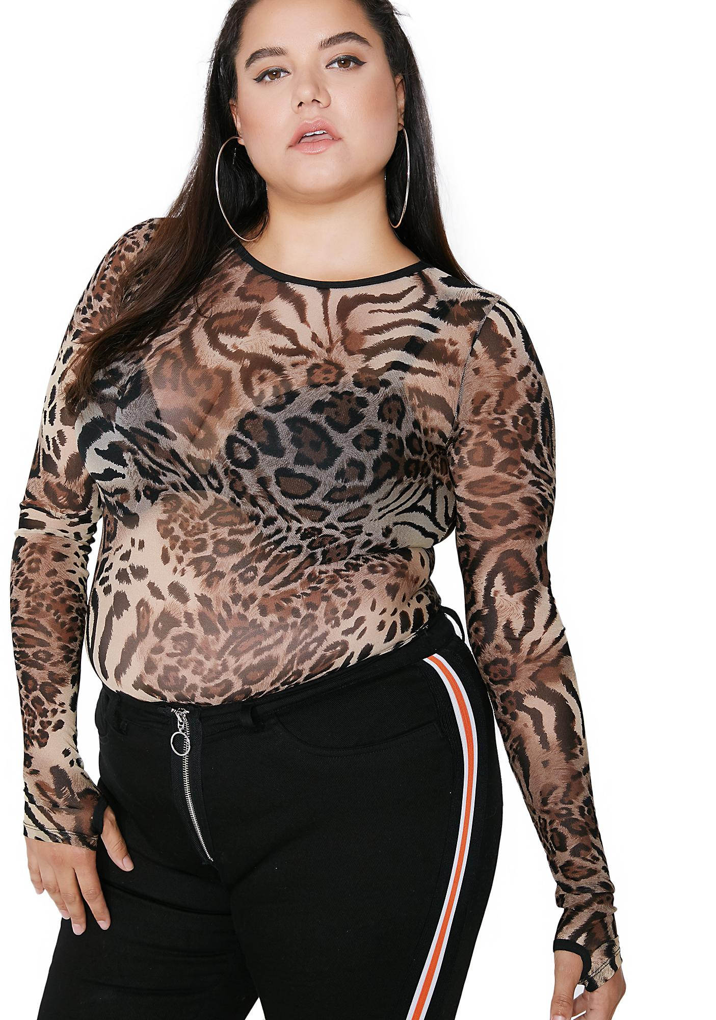 Poster Grl Cat Scratch Feva Mesh Top