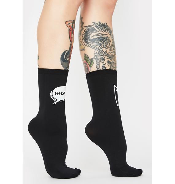 MeMoi Cat's Meow Print Ankle Socks
