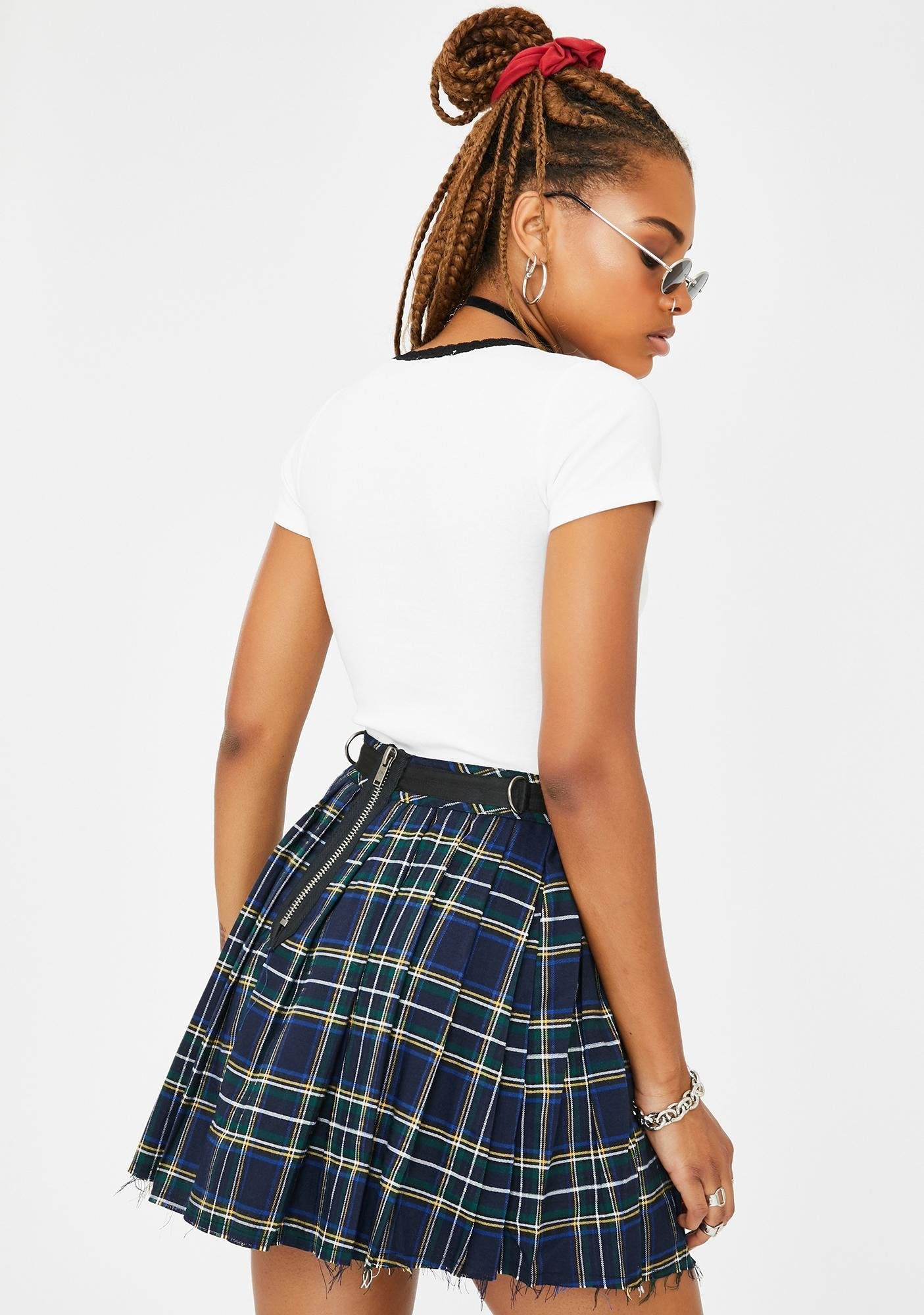 Current Mood Dress Code Plaid Skirt