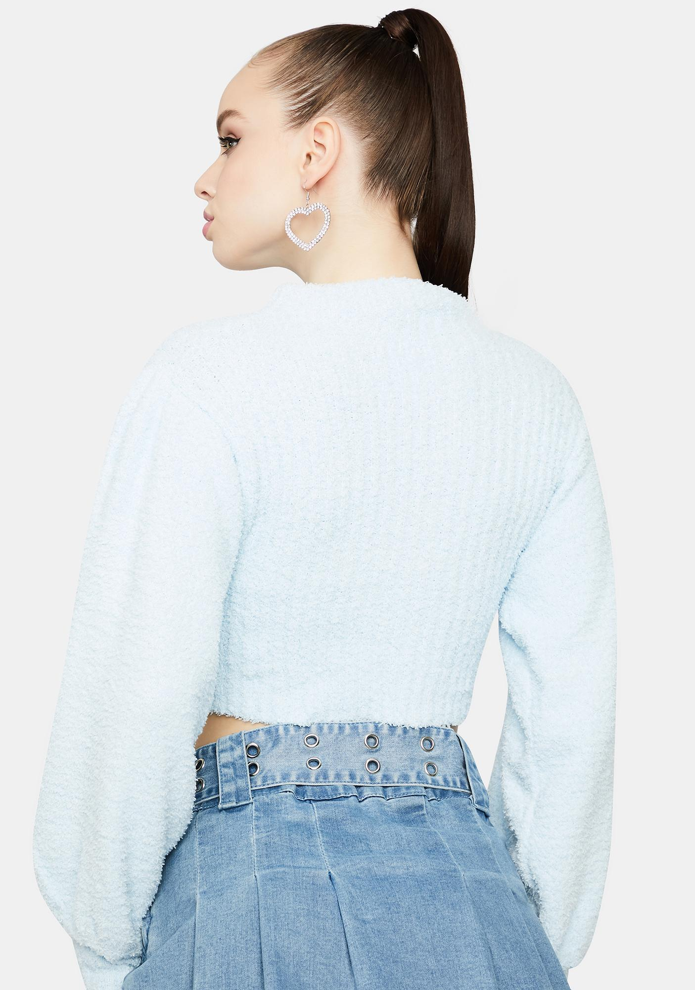 Sky All The Feels Bell Sleeve Cropped Turtleneck