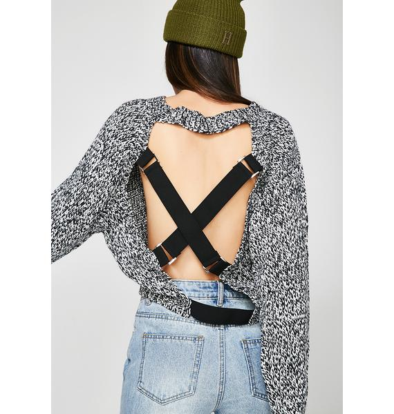 Watch Your Back Strap Sweater