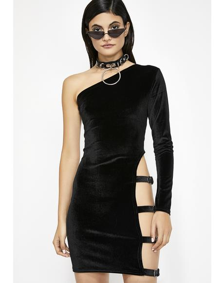 Midnight Buckle Up Velvet Dress