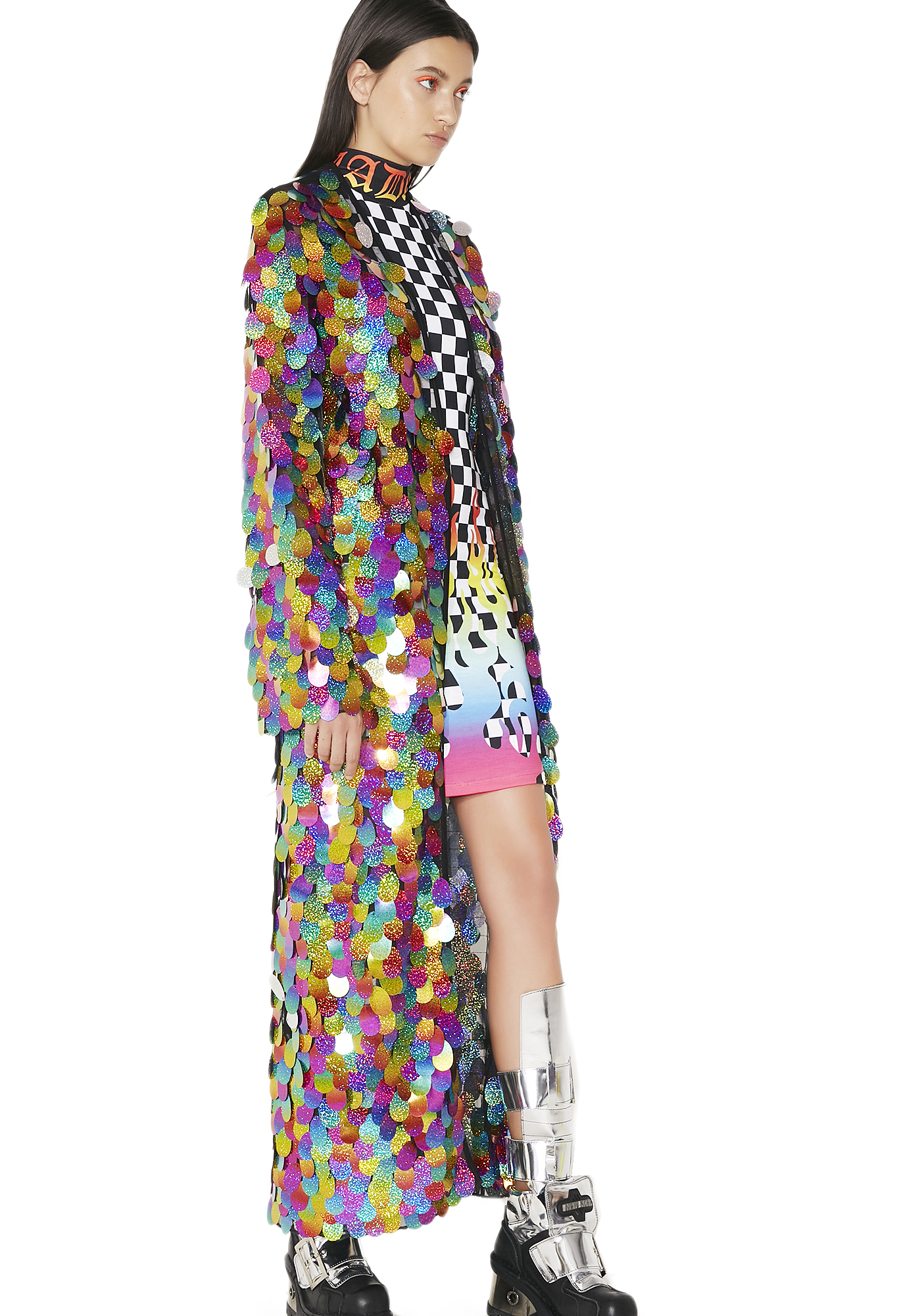 Jaded London Rainbow Sequin Maxi Kimono