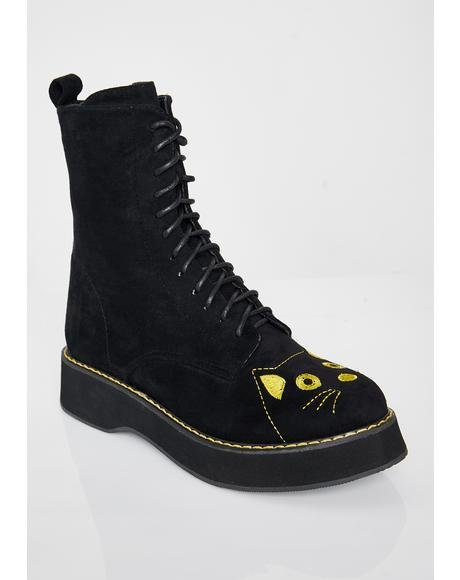 Felix Cat Face Ankle Boots