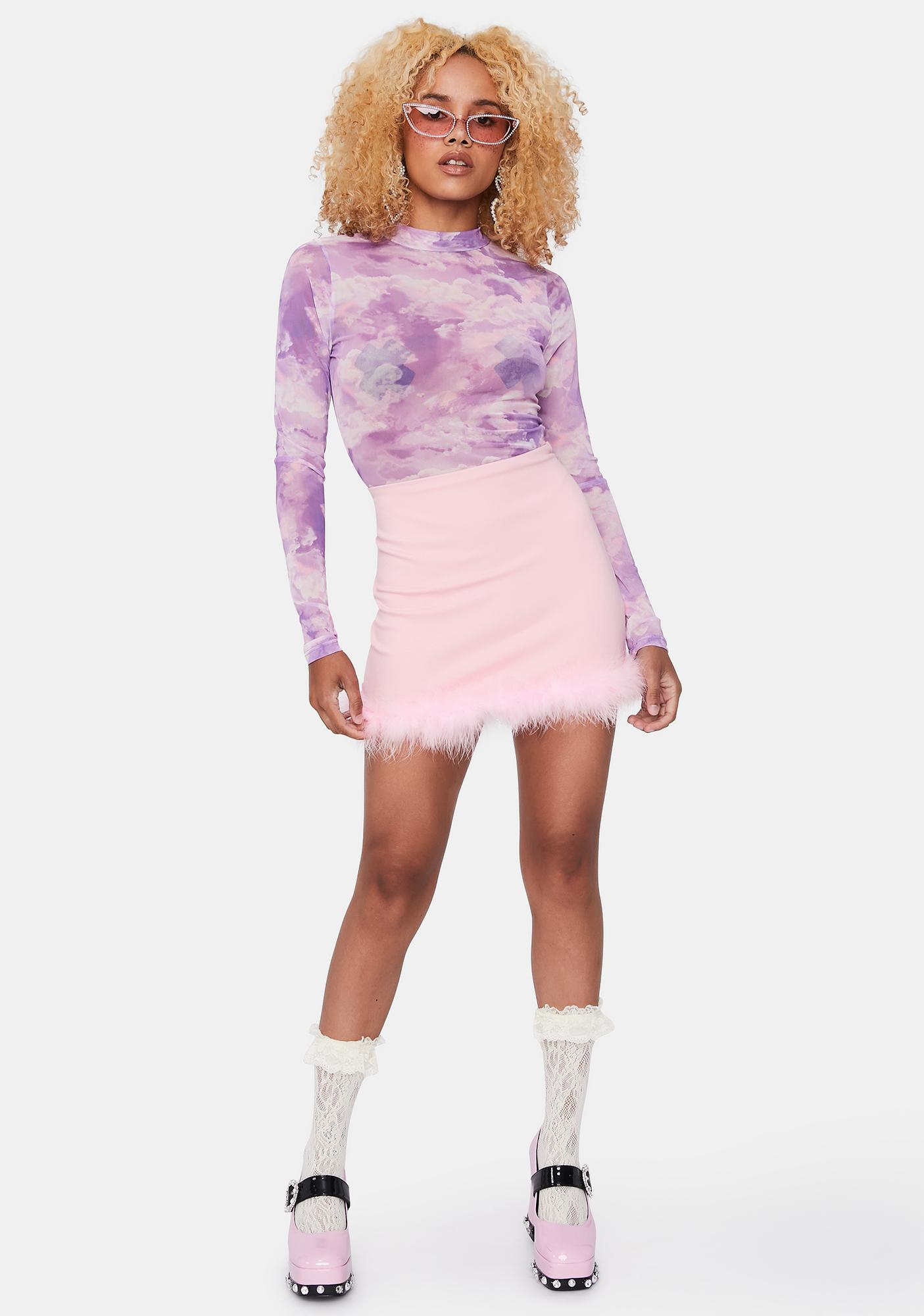 Lilac Into Thin Air Mesh Bodysuit