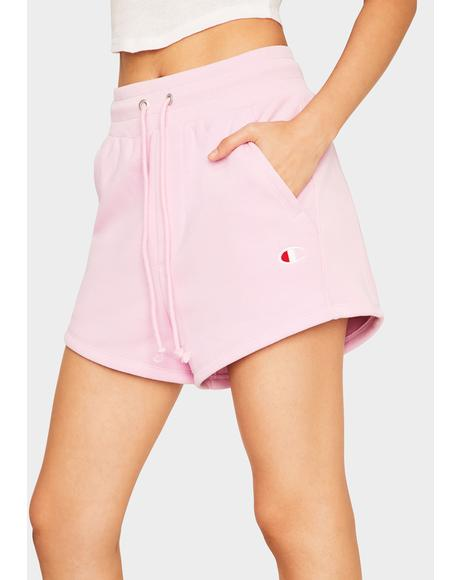 Pink Reverse Weave Shorts