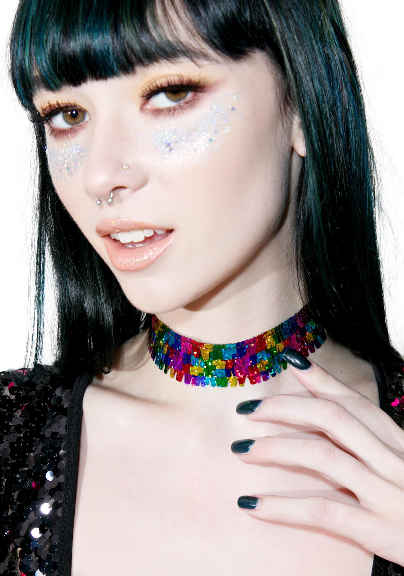 Jaded London Rainbow Sequin Choker