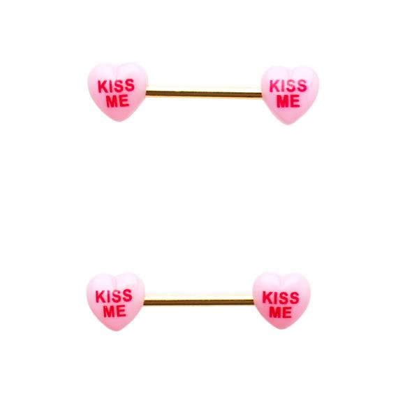 Sweet Kiss Barbell Nipple Rings
