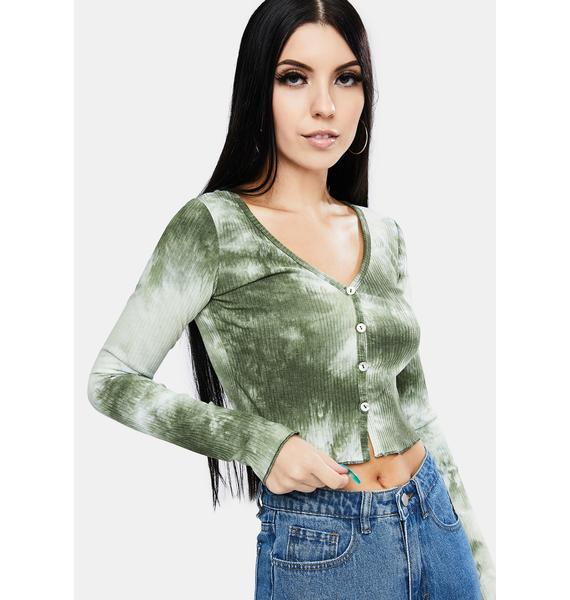 Olive Be The Free Tie Dye Button Up Crop Top