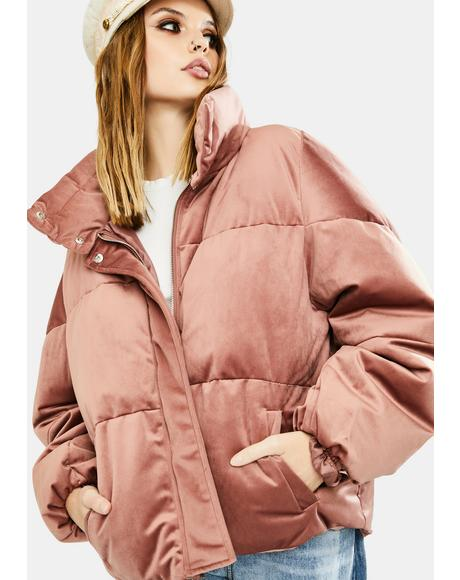 Pink Velvet Puffer Jacket