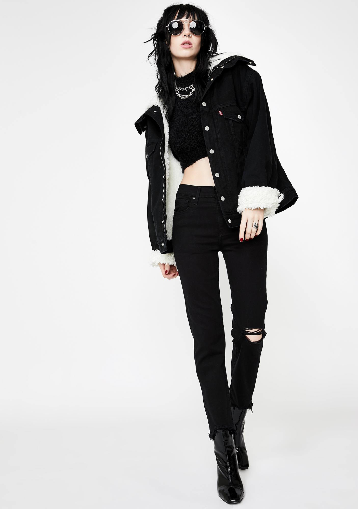 Levis Black Pixel 724 High Rise Crop Jeans