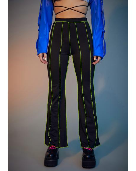 Lime Livin' Reckless Contrast Stitch Pants