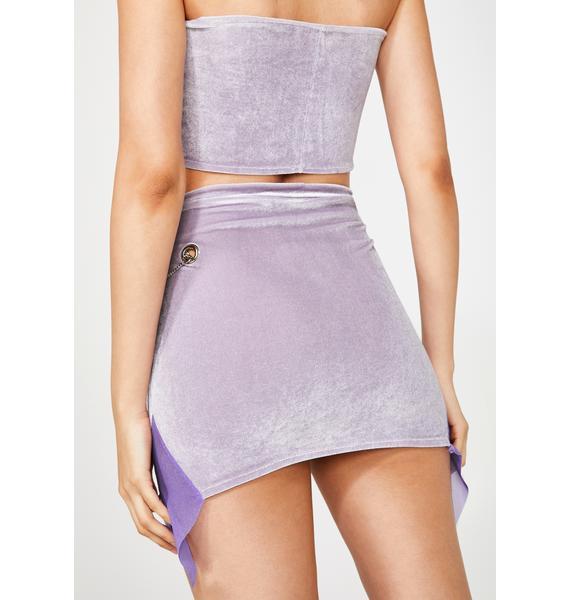 ZEMETA Baby Purple Velvet Skirt Set