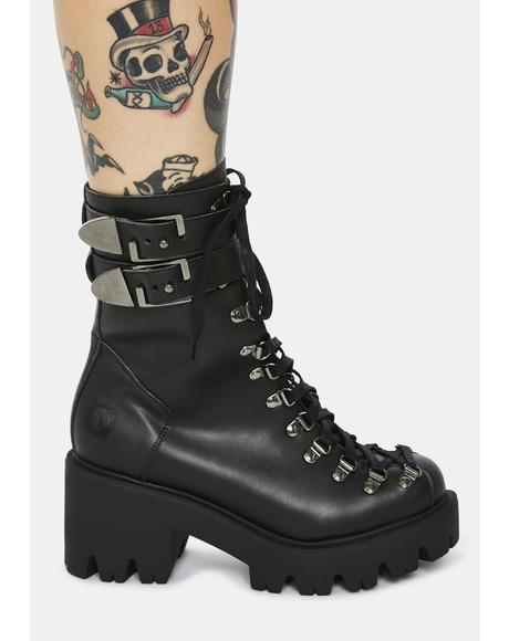Chloe Vegan Leather Lace Up Boots