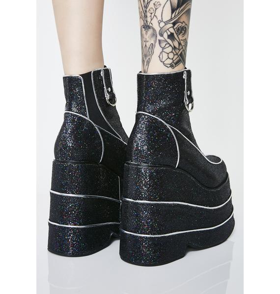 Club Exx Blackout Discotheque Glitter Platform Boots