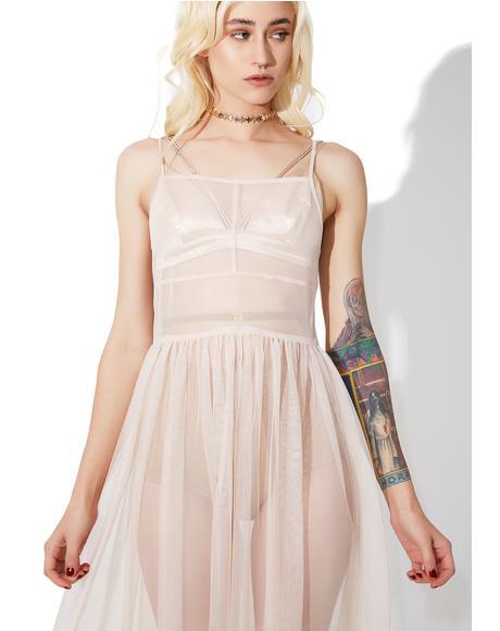 Powder Puff Mesh Maxi Dress