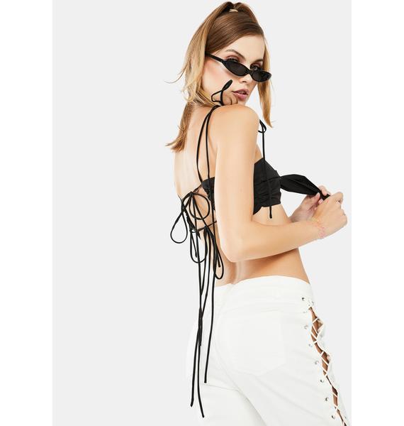 Glamorous Black Tie Front Crop Top