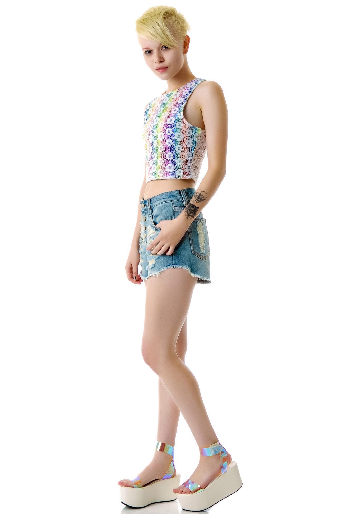 Mink Pink Exposed Slasher Flick Denim Shorts