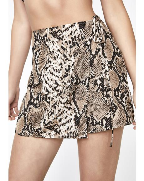Invite Only Snakeskin Skort