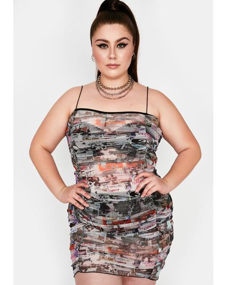 Curve Poster Ruched Mesh Dress