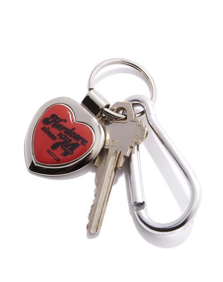 Hardcore Since '74 Heart Keychain