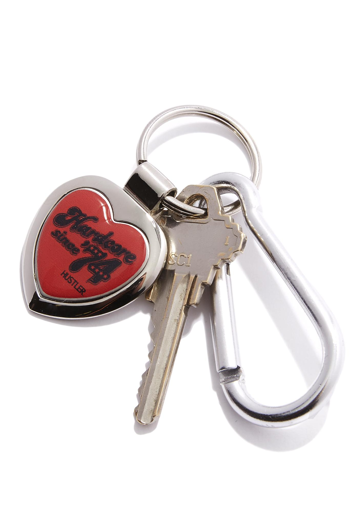 Hustler Hardcore Since '74 Heart Keychain
