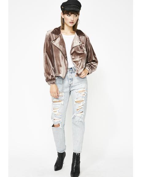 Babe Alert Velvet Moto Jacket