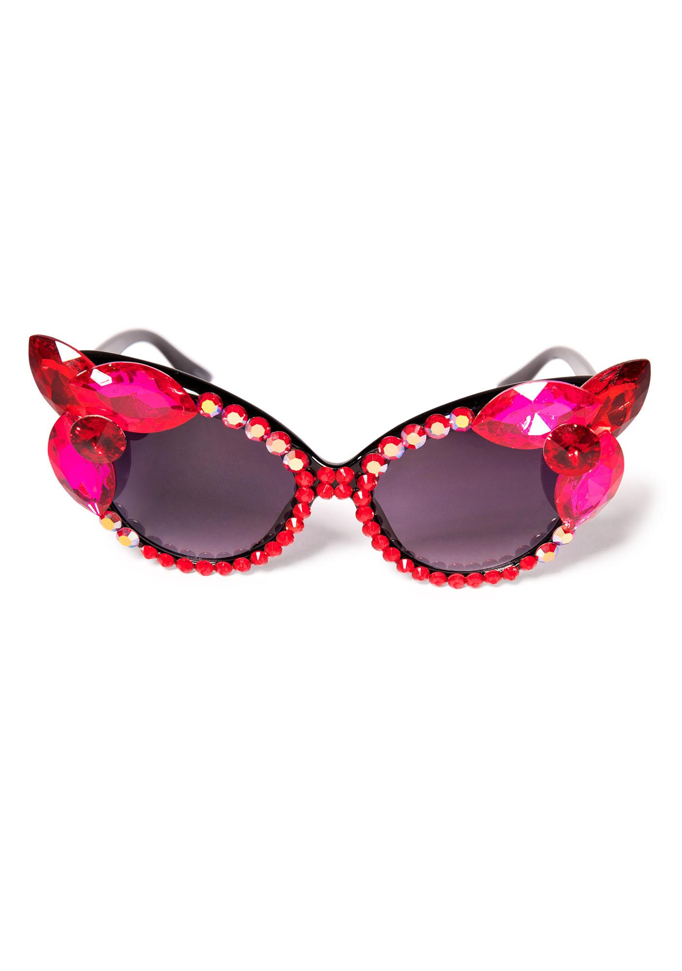 Her Tiny Teeth Sunglasses  her tiny teeth magenta sunglasses dolls kill
