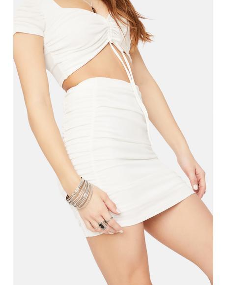 Holy Bang Bang Bang Ruched Bodycon Mini Skirt