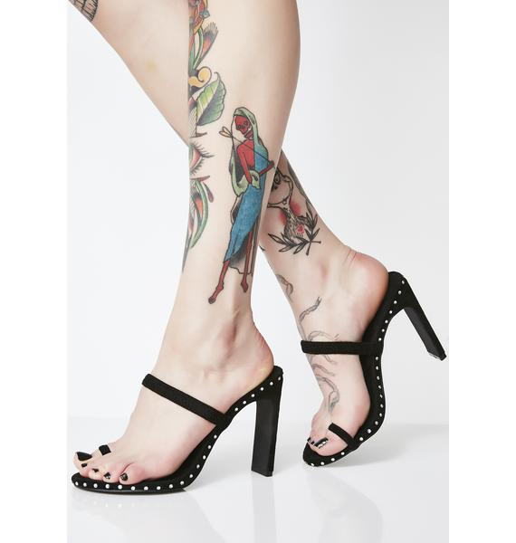 Dark Crazy On You Studded Heels
