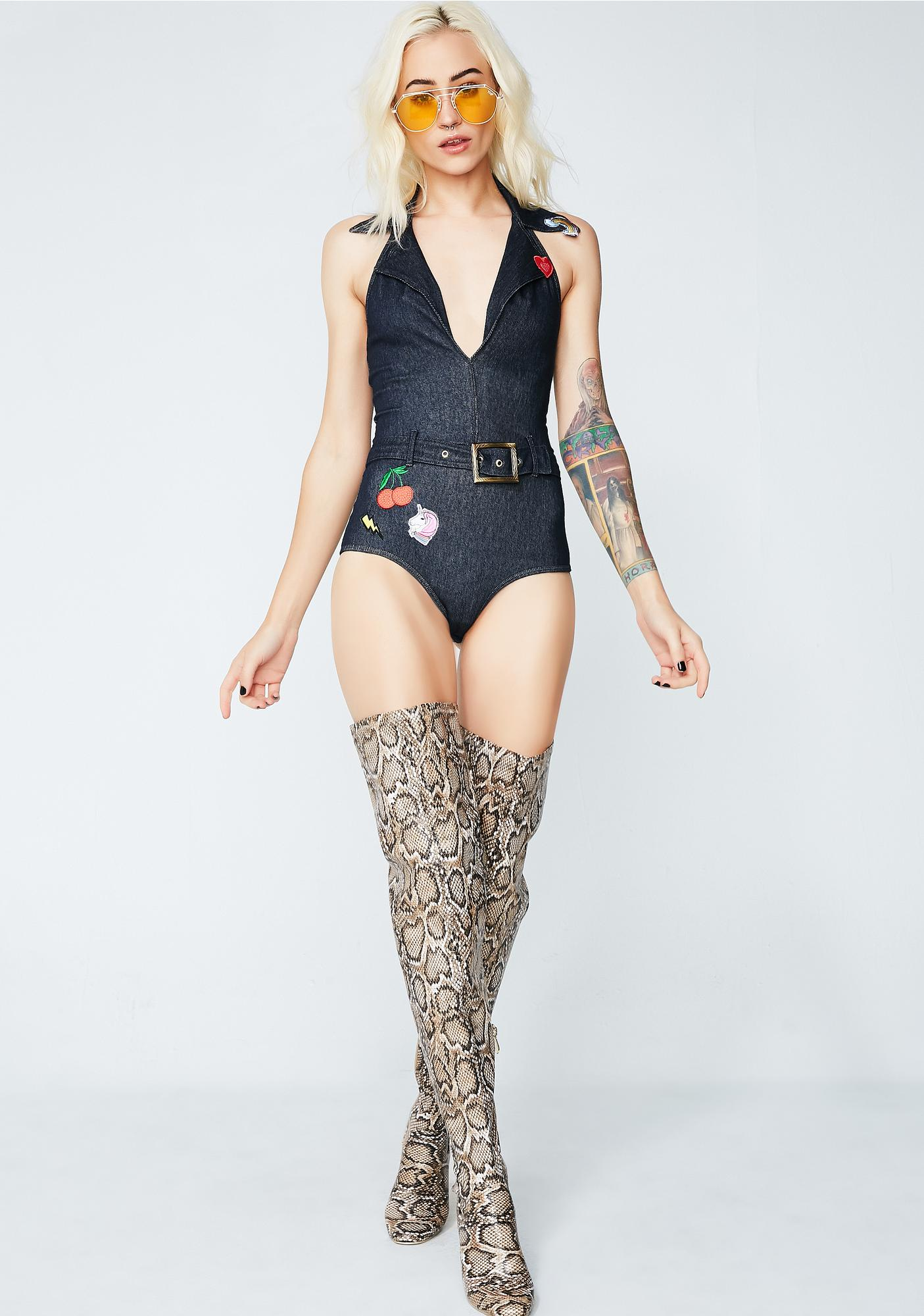 Let'z Groove Denim Bodysuit
