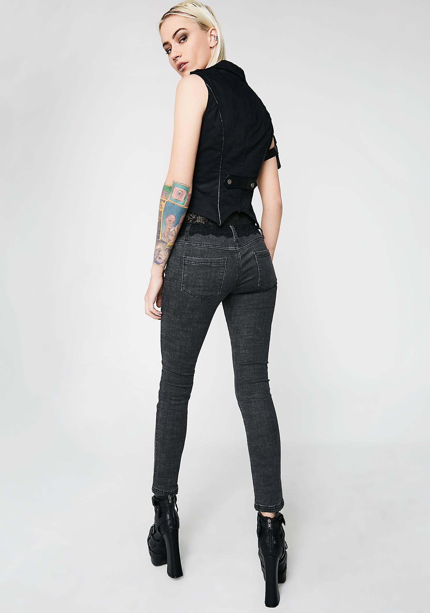 Punk Rave Lace Denim Matching Leg Jeans