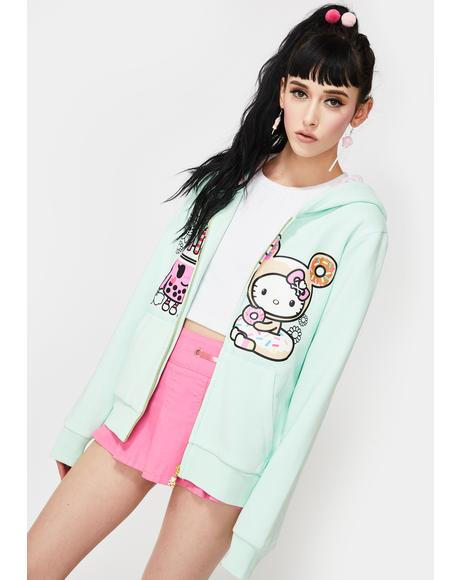 X Hello Kitty Boba BFF Hello Kitty Zip Up Hoodie