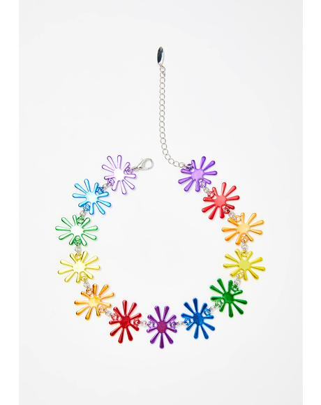 Rainbow Bloomin' Flower Choker