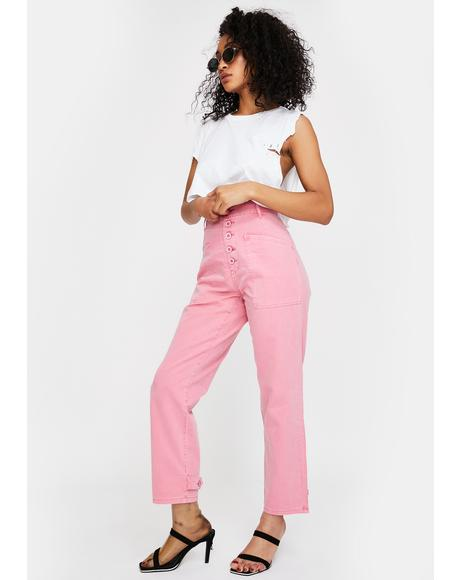 Pink Tammy High Rise Cargo Jeans