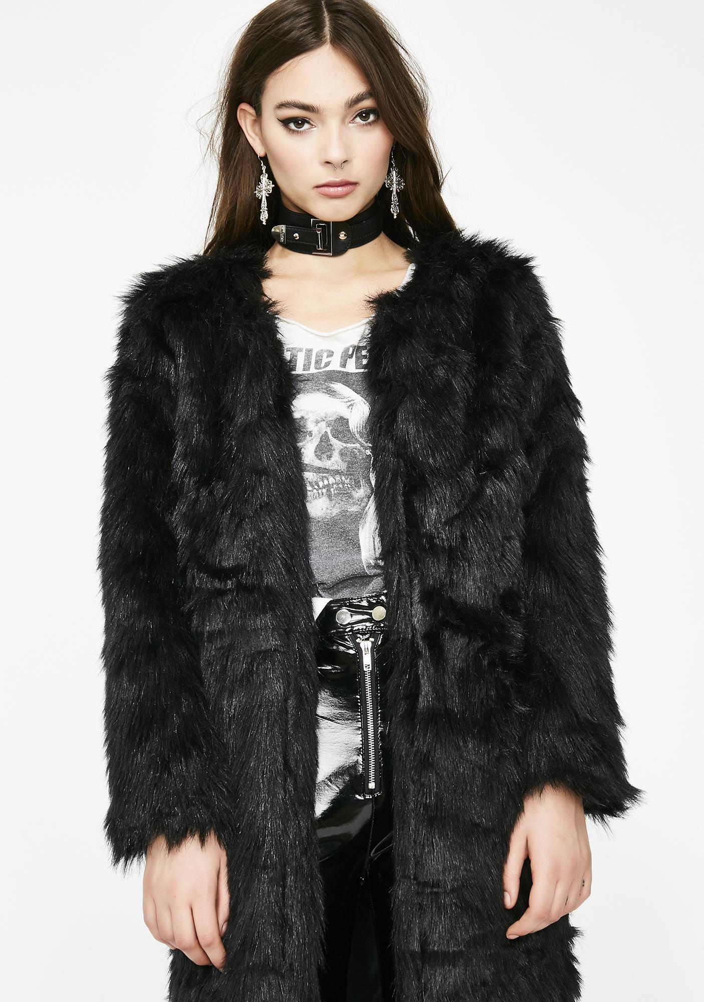 cb3cd3c271fda Longline Faux Fur Coat | Dolls Kill