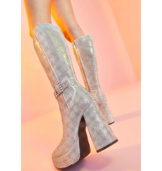 Sugar Thrillz Make My Debut Rhinestone Boots