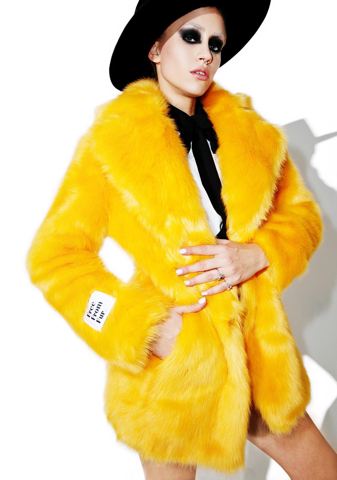 Jakke Heather Fuzzy Faux Fur Coat