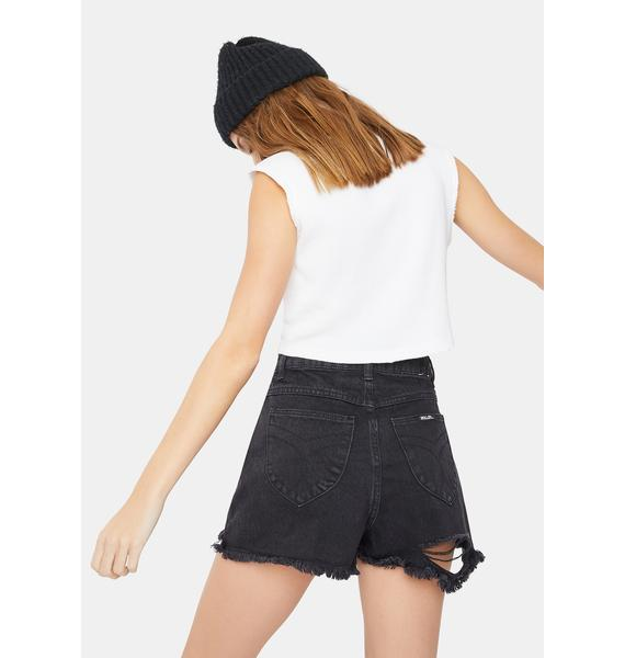Rollas Layla Black Dusters Distressed Denim Shorts