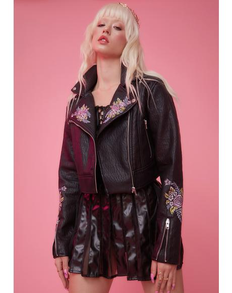 Gaia's Daughter Floral Embroidered Moto Jacket