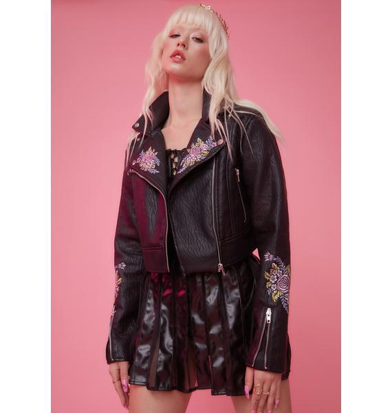 Sugar Thrillz Gaia's Daughter Floral Embroidered Moto Jacket